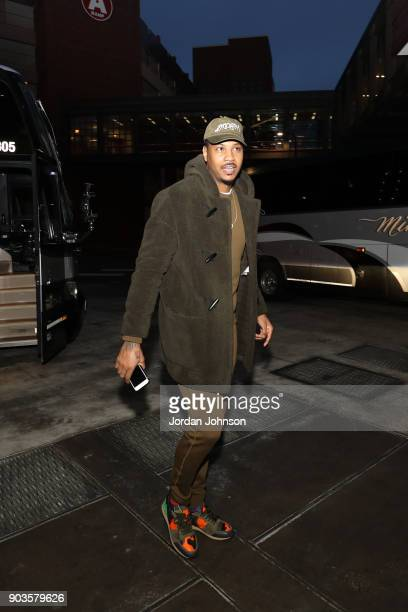 Carmelo Anthony of the Oklahoma City Thunder arrives before the game against the Minnesota Timberwolves on January 10 2018 at Target Center in...
