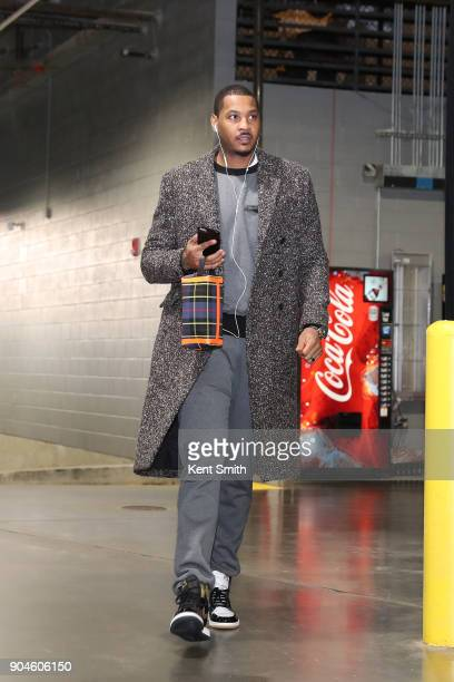 Carmelo Anthony of the Oklahoma City Thunder arrives before the game against the Charlotte Hornets on January 13 2018 at Spectrum Center in Charlotte...