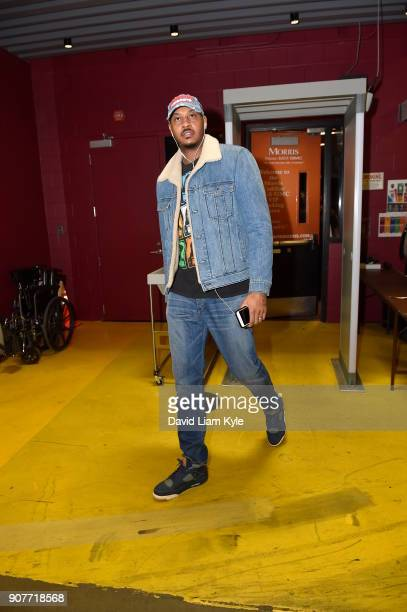 Carmelo Anthony of the Oklahoma City Thunder arrives before the game against the Cleveland Cavaliers on January 20 2018 at Quicken Loans Arena in...