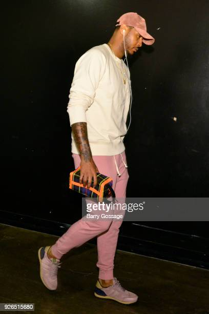 Carmelo Anthony of the Oklahoma City Thunder arrives before the game against the Phoenix Suns on March 2 2018 at Talking Stick Resort Arena in...
