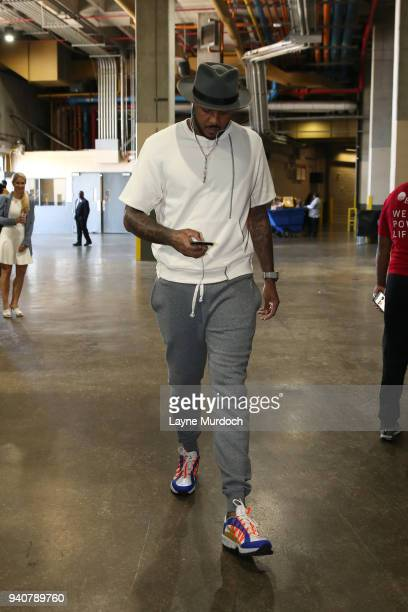 Carmelo Anthony of the Oklahoma City Thunder arrives before the game against the New Orleans Pelicans on April 1 2018 at Smoothie King Center in New...