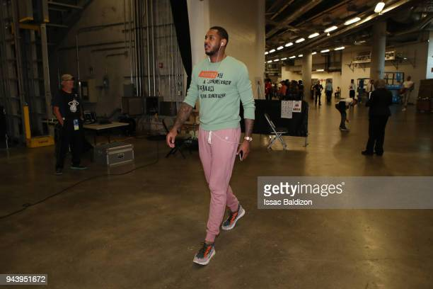 Carmelo Anthony of the Oklahoma City Thunder arrives before the game against the Miami Heat on April 9 2018 at American Airlines Arena in Miami...