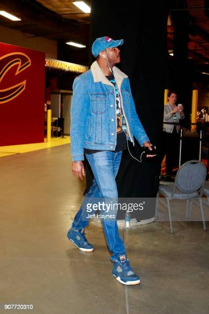 Carmelo Anthony of the Oklahoma City Thunder arrives to the arena prior to the game against the Cleveland Cavaliers on January 20 2018 at Quicken...