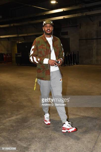 Carmelo Anthony of the Oklahoma City Thunder arrives to the arena prior to the game against the Los Angeles Lakers on February 8 2018 at STAPLES...