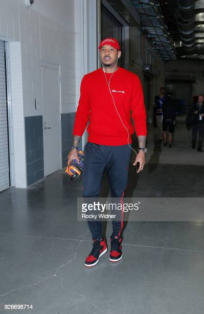 Carmelo Anthony of the Oklahoma City Thunder arrives to the arena prior to the game against the Sacramento Kings on February 22 2018 at Golden 1...