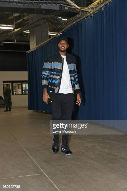 Carmelo Anthony of the Oklahoma City Thunder arrives to the arena prior to the game against the Phoenix Suns on March 8 2018 at Chesapeake Energy...