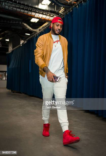 CITY OK APRIL 18 Carmelo Anthony of the Oklahoma City Thunder arrives to the arena prior to Game Two of Round One of the 2018 NBA Playoffs against...