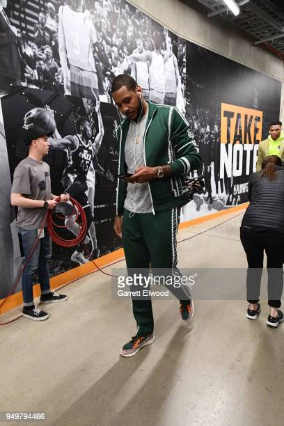 Carmelo Anthony of the Oklahoma City Thunder arrives to the arena prior to Game Three of Round One of the 2018 NBA Playoffs against the Houston...