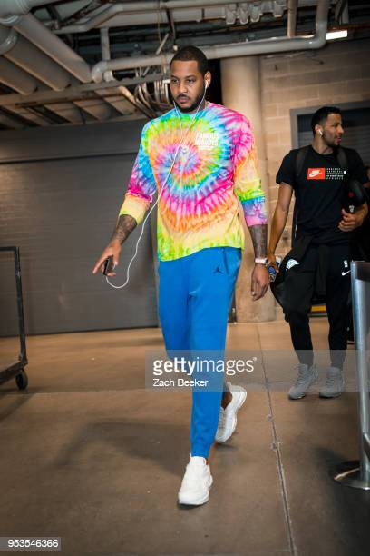 Carmelo Anthony of the Oklahoma City Thunder arrives to the arena prior to Game Six of the Western Conference Quarterfinals during the 2018 NBA...