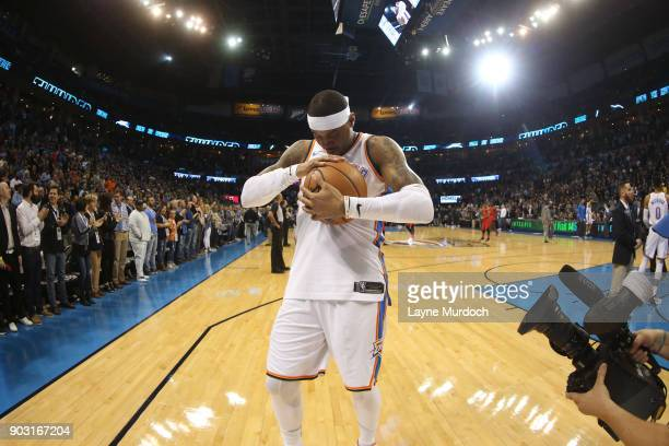 Carmelo Anthony of the Oklahoma City Thunder before the game against the Portland Trail Blazers on January 9 2018 at Chesapeake Energy Arena in...