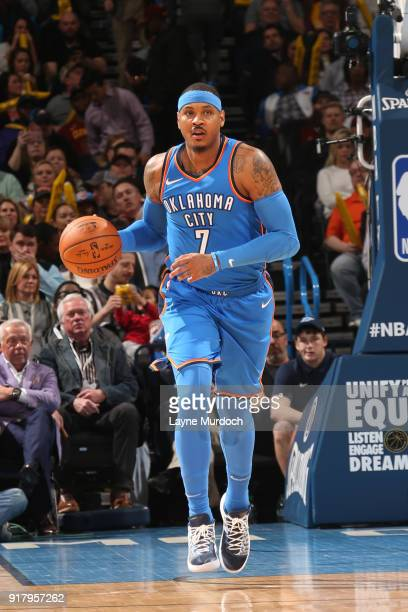 Carmelo Anthony of the Oklahoma City Thunder brings the ball up court against the Cleveland Cavaliers on February 13 2018 at Chesapeake Energy Arena...