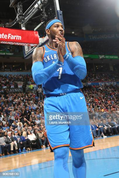 Carmelo Anthony of the Oklahoma City Thunder celebrates during the game against the Los Angeles Lakers on January 17 2018 at Chesapeake Energy Arena...
