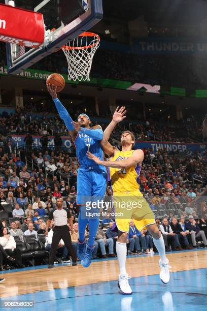 Carmelo Anthony of the Oklahoma City Thunder drives to the basket during the game against the Los Angeles Lakers on January 17 2018 at Chesapeake...