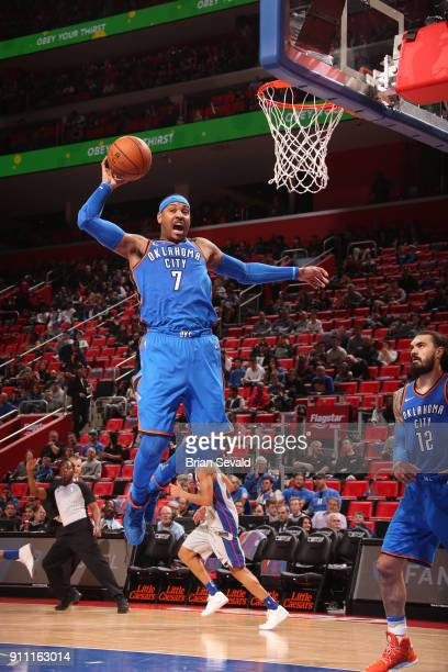 Carmelo Anthony of the Oklahoma City Thunder drives to the basket during the game against the Detroit Pistons on January 27 2018 at Little Caesars...