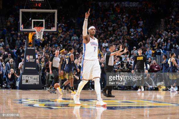 Carmelo Anthony of the Oklahoma City Thunder during the game against the Denver Nuggets on February 1 2018 at the Pepsi Center in Denver Colorado...
