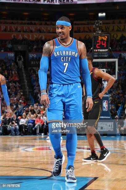 Carmelo Anthony of the Oklahoma City Thunder during the game against the Cleveland Cavaliers on February 13 2018 at Chesapeake Energy Arena in...