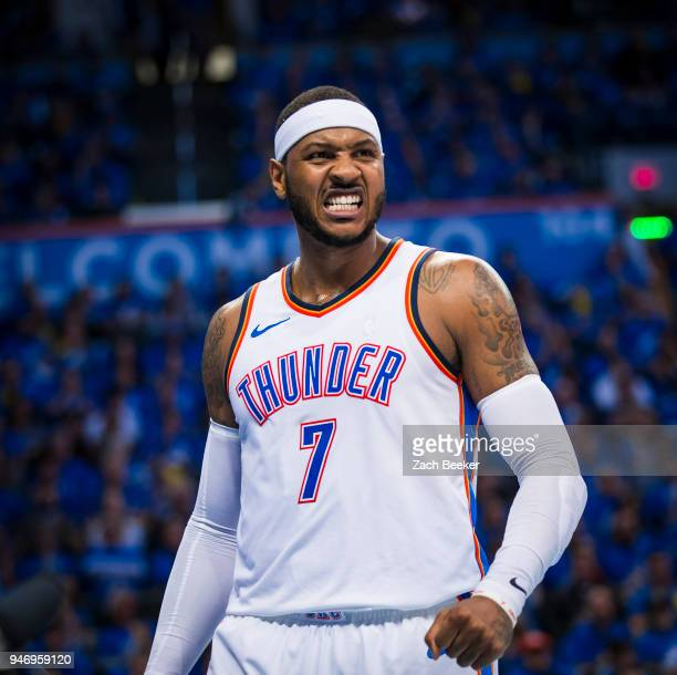 Carmelo Anthony of the Oklahoma City Thunder during the game against the Utah Jazz during Game one and Round one of the 2018 NBA Playoffs on April 15...