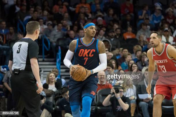 Carmelo Anthony of the Oklahoma City Thunder during the second half of a NBA game at the Chesapeake Energy Arena on December 25 2017 in Oklahoma City...