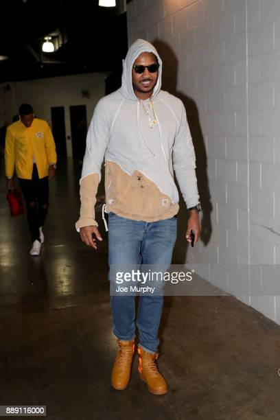 Carmelo Anthony of the Oklahoma City Thunder enters the arena before the game against the Memphis Grizzlies on December 9 2017 at FedExForum in...