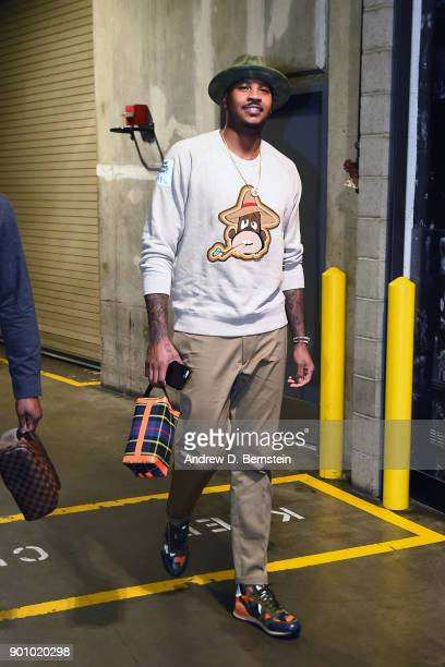 Carmelo Anthony of the Oklahoma City Thunder enters the arena before the game against the Los Angeles Lakers on January 3 2018 at STAPLES Center in...
