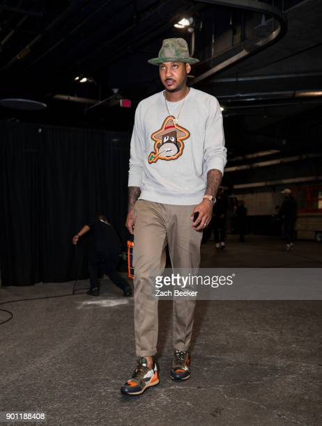 Carmelo Anthony of the Oklahoma City Thunder enters the arena before taking on the Los Angeles Lakers at the Staples Center in Los Angeles CA on...