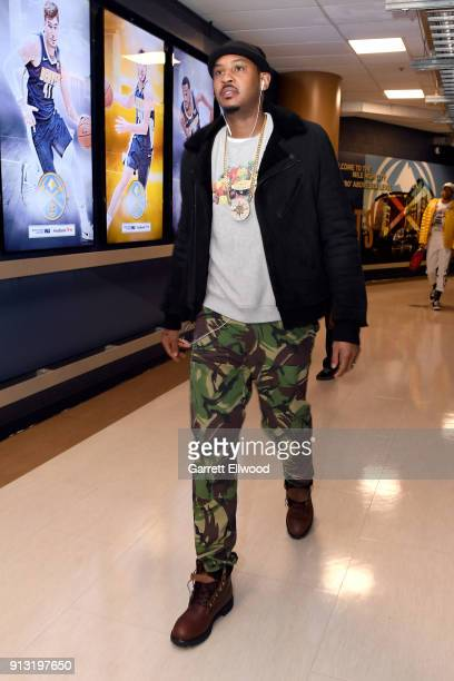 Carmelo Anthony of the Oklahoma City Thunder enters the arena before the game against the Denver Nuggets on February 1 2018 at the Pepsi Center in...