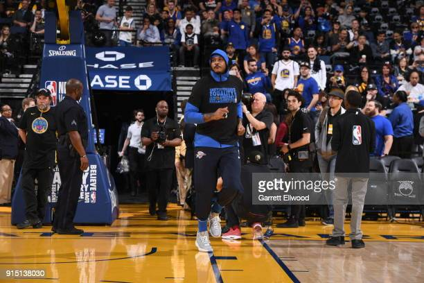 Carmelo Anthony of the Oklahoma City Thunder gets introduced before the game against the Golden State Warriors on February 6 2018 at ORACLE Arena in...