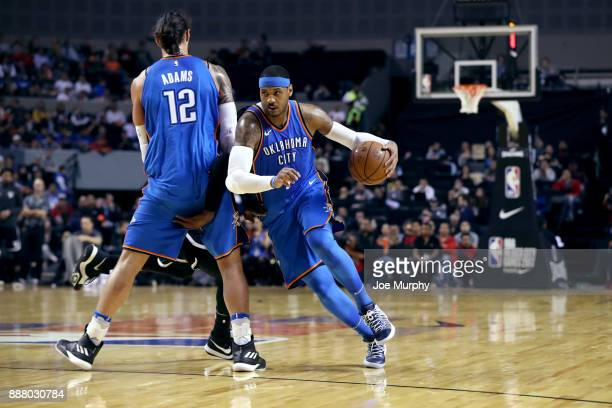 Carmelo Anthony of the Oklahoma City Thunder goes to the basket against the Brooklyn Nets as part of the NBA Mexico Games 2017 on December 7 2017 at...