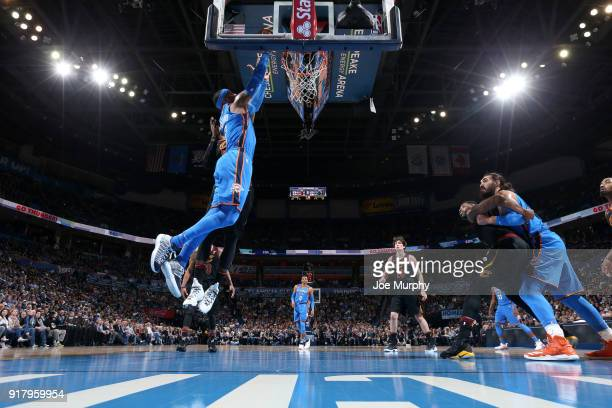 Carmelo Anthony of the Oklahoma City Thunder goes to the basket against the Cleveland Cavaliers on February 13 2018 at Chesapeake Energy Arena in...