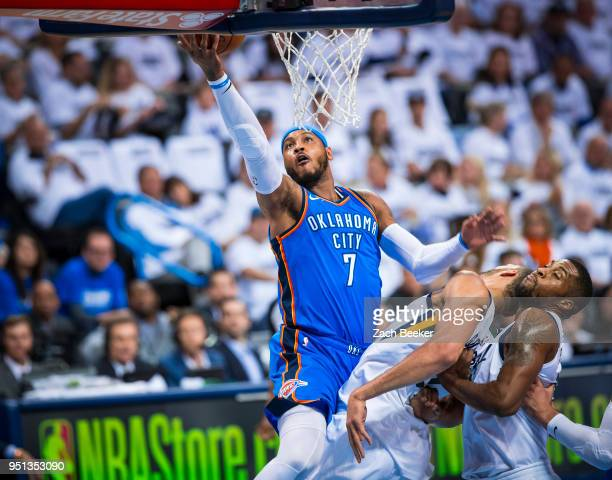Carmelo Anthony of the Oklahoma City Thunder goes to the basket against the Utah Jazz in Game Five of Round One of the 2018 NBA Playoffs on April 25...