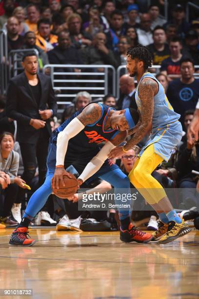 Carmelo Anthony of the Oklahoma City Thunder handles the ball against the Los Angeles Lakers on January 3 2018 at STAPLES Center in Los Angeles...