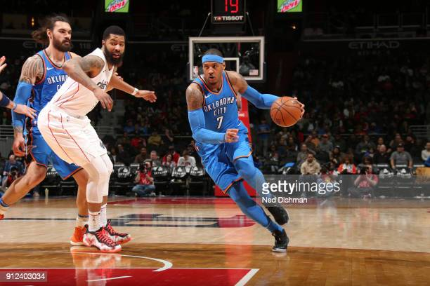 Carmelo Anthony of the Oklahoma City Thunder handles the ball against the Washington Wizards on January 30 2018 at Capital One Arena in Washington DC...