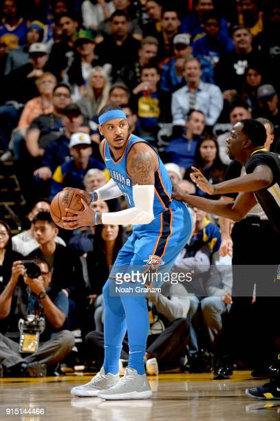 Carmelo Anthony of the Oklahoma City Thunder handles the ball against the Golden State Warriors on February 6 2018 at ORACLE Arena in Oakland...