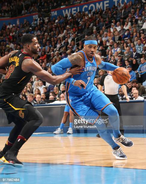 Carmelo Anthony of the Oklahoma City Thunder handles the ball against the Cleveland Cavaliers on February 13 2018 at Chesapeake Energy Arena in...