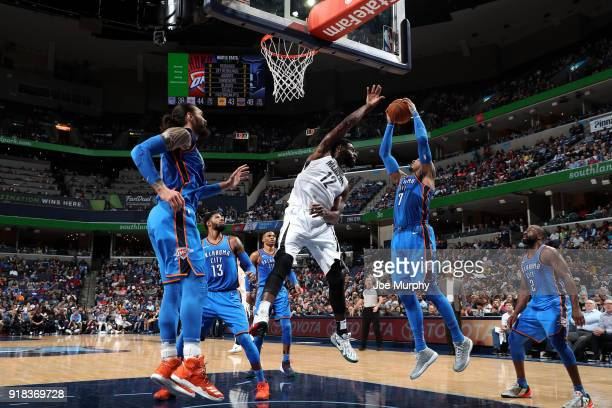 Carmelo Anthony of the Oklahoma City Thunder handles the ball against the Memphis Grizzlies on February 14 2018 at FedExForum in Memphis Tennessee...