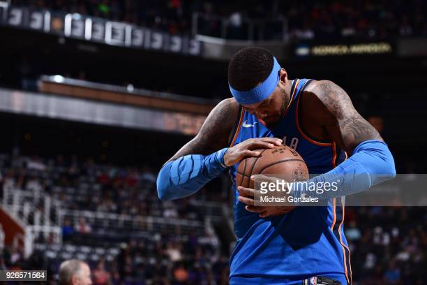 Carmelo Anthony of the Oklahoma City Thunder handles the ball against the Phoenix Suns on March 2 2018 at Talking Stick Resort Arena in Phoenix...