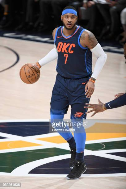 Carmelo Anthony of the Oklahoma City Thunder handles the ball against the Utah Jazz in Game Six of the Western Conference Quarterfinals during the...