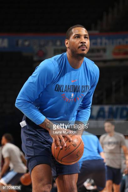 Carmelo Anthony of the Oklahoma City Thunder handles the ball before the game against the Memphis Grizzlies on February 11 2018 at Chesapeake Energy...