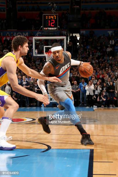 Carmelo Anthony of the Oklahoma City Thunder handles the ball during the game against the Los Angeles Lakers on February 4 2018 at Chesapeake Energy...