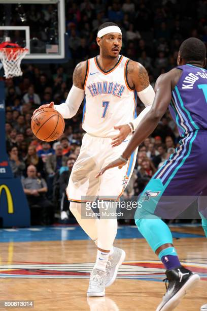 Carmelo Anthony of the Oklahoma City Thunder handles the on December 11 2017 at Chesapeake Energy Arena in Oklahoma City Oklahoma NOTE TO USER User...