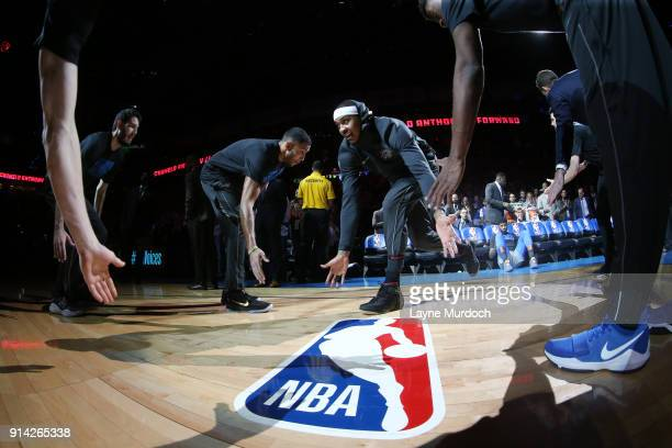 Carmelo Anthony of the Oklahoma City Thunder is introduced prior to the game against the Los Angeles Lakers on February 4 2018 at Chesapeake Energy...