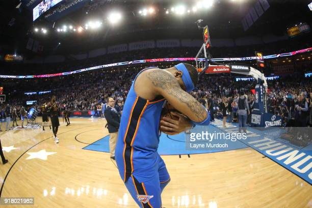 Carmelo Anthony of the Oklahoma City Thunder is seen before the game against the Cleveland Cavaliers on February 13 2018 at Chesapeake Energy Arena...