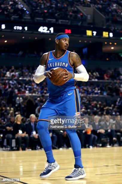 Carmelo Anthony of the Oklahoma City Thunder looks on during the game against the Brooklyn Nets as part of the NBA Mexico Games 2017 on December 7...