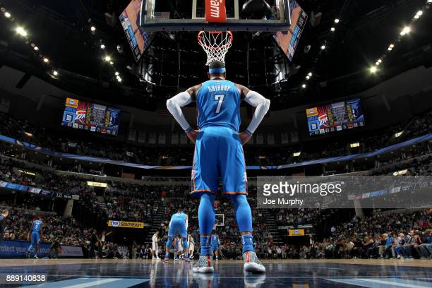 Carmelo Anthony of the Oklahoma City Thunder looks on during the game against the Memphis Grizzlies on December 9 2017 at FedExForum in Memphis...