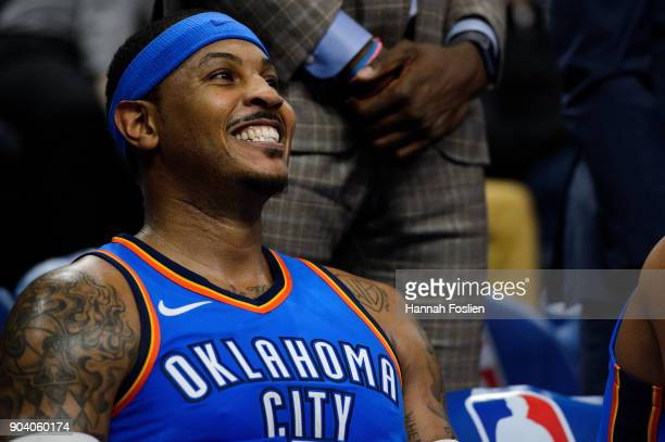 Carmelo Anthony of the Oklahoma City Thunder looks on during the game against the Minnesota Timberwolves on January 10 2018 at the Target Center in...