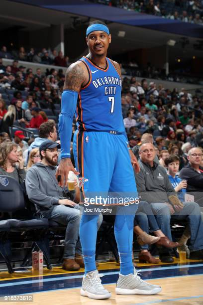 Carmelo Anthony of the Oklahoma City Thunder looks on during the game against the Memphis Grizzlies on February 14 2018 at FedExForum in Memphis...