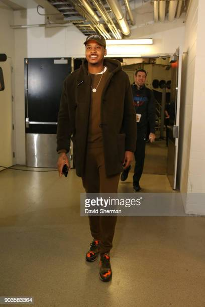 Carmelo Anthony of the Oklahoma City Thunder makes his entrance before the game against the Minnesota Timberwolves on January 10 2018 at Target...