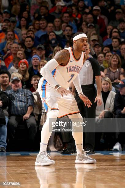 Carmelo Anthony of the Oklahoma City Thunder plays defense against the Sacramento Kings on January 15 2018 at Chesapeake Energy Arena in Oklahoma...