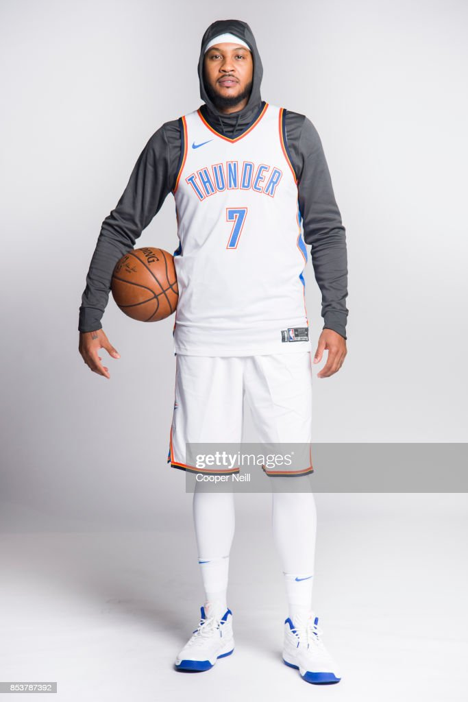 Carmelo Anthony #7 of the Oklahoma City Thunder poses for a photo during media day at Chesapeake Energy Arena on September 25, 2017 in Oklahoma City, Oklahoma.