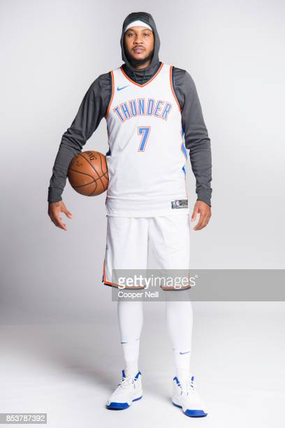 Carmelo Anthony of the Oklahoma City Thunder poses for a photo during media day at Chesapeake Energy Arena on September 25, 2017 in Oklahoma City,...